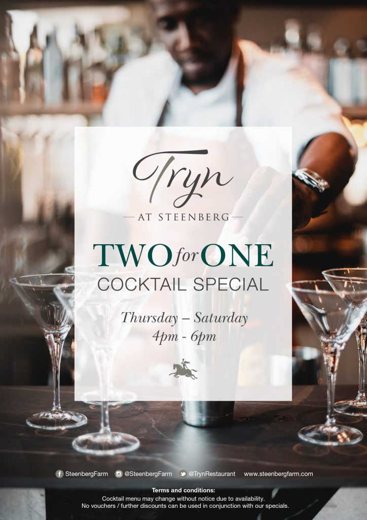 TWO FOR ONE COCKTAILS AT TRYN – COCKTAIL SPECIAL